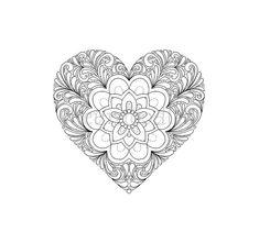 Herz - Malseite für Erwachsene - Malseiten zum Ausdrucken, Download Liebe…