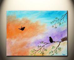 Los Gatos, Ca Artist back home  original modern paintinglove birds24x18inch by maggyart, $85.00