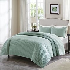 Comfort Spaces – Kienna Quilt Mini Bedspread Set 3 Piece Seafoam– Stitched size #ComfortSpaces