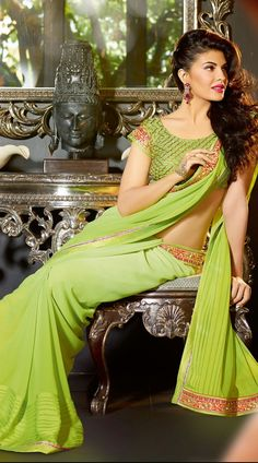Lime Green Jacqueline Fernandez Bollywood Designer Saree 3H1010413