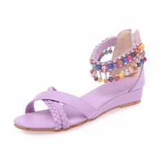 Latasa Women's Adorable All Day Beaded Ankle-strap Braided Open-toe Low Heel Sandals, Little Wedge * You can get additional details at the image link. #shoes