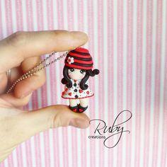 Gorjuss inspired cute polymer clay doll by RubyCreationsDesign