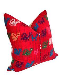 Custom Red Tzute Vintage Guatemalen Fabric Pillow on Chairish.com