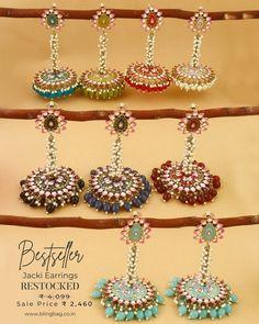 American Diamond Jewellery, Diamond Jewelry, Jhumki Earrings, Hoop Earrings, After Marriage, Raksha Bandhan, Rakhi, Instagram Shop, Festival Wear
