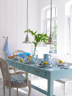 Blue Painted Dining Table
