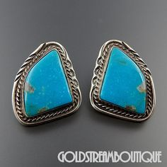 VINTAGE NAVAJO STERLING SILVER AMERICAN TURQUOISE SOUTHWESTERN POST EARRINGS