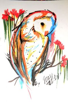 owl water color tattoo. Would love this one day.