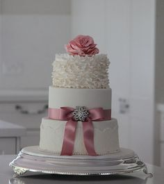 wedding cakes newcastle nsw 2 tier cake with buttercream frosting and fondant bow 25074