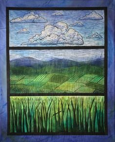 """Jill Jansen landscape quilt I like the idea of using the """"window framing"""" around the view"""