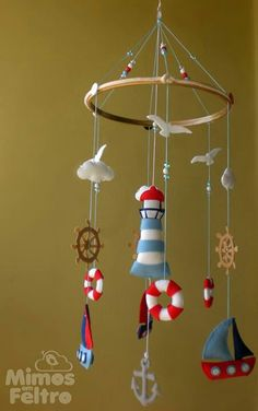 Craft ideas with Caylee Baby Mobile Felt, Baby Crib Mobile, Felt Baby, Baby Mobiles, Baby Crafts, Felt Crafts, Diy And Crafts, Crafts For Kids, Nautical Nursery