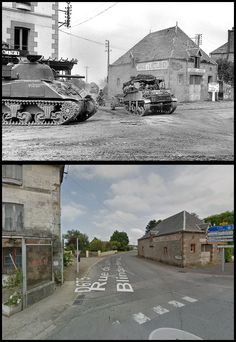 Convoy of the 8 Brigade Rifle crosses the intersection of the road from Villers-Bocage to Ferriere-Haran, in Saint-Martin-des-Besaces, under the protection of a Sherman of the Ussari. Normandy, 1944 and tge same intersection now Then And Now Pictures, D Day Normandy, D Day Landings, Foto Poster, War Photography, Historical Pictures, Military History, Change The World, World War Ii