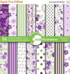 80%OFF Violet Shabby Chic floral Papers, Shabby chic papers, Purple papers, Lilac scrapbook papers, commercial use, Amb-853