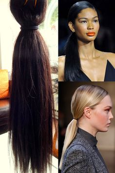 """From #runway to real life: the low pony tail is an effortless style being seen from the runways of New York to the runways of #Paris. Can we just brag for a minute to state how #beautifully two bundles of our 18"""" Relaxed Straight extensions pulls off this look?"""
