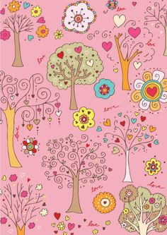 FREE printable scrapbook paper - pink trees