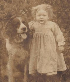 Little Girl with her best friend. Old Oregon photograph