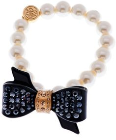 Ted Baker Ted Baker Pave Acrylic Bow Pearl Bracelet in Multicolor (gold) - Lyst