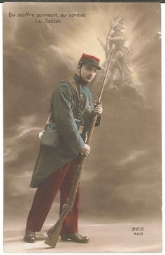 WW1 French Soldier Postcard Hand Colored Tinted Le Soldat