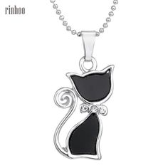 Silver Plated Rhinestone Crystal Cute Lovely Cat Necklaces Pendants