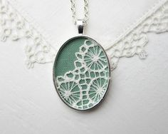 Mint Green Necklace, Seafoam Green Jewelry, Mint Green Wedding Cottage Chic White Lace Pendant Jewelry. $30.00, via Etsy.