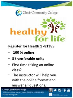 There's still time to enroll in Health 1! View other open classes at http://onlineforms.scccd.edu/ocl/CCC_FALL.pdf