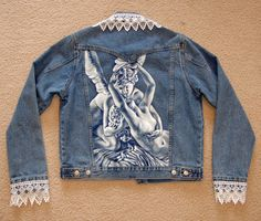 Custom Hand Painted Jeans, Denim, Jackets, Purses, Skirts and T-Shirts, Clothing and Shoes. $300.00, via Etsy.
