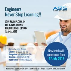 Engineers never stop learning. Successful engineers never stop learning. Whether you're looking to broaden your expertise or keep up to date with the latest engineering practices, we have a range of courses to suit your needs.Designed and delivered with an interactive learning approach, our technical engineering courses are facilitated by industry experts and leading engineering professionals.  Join PG Diploma in Oil & Gas Piping Engineering Design and Analysis. For more details call now…