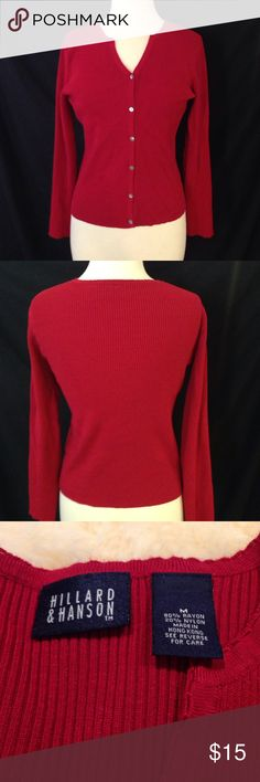 Hilliard & Hanson Red Knit Sweater Thickly knitted sweater with button that look like or are iridescent fish scales. in excellent  condition Hillard & Hanson Sweaters Cardigans
