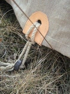 "Great way to secure the tent to the stakes. Modern - Bungee Tie and Ball has ""give"" to allow for the excessive pulling on the grommets, especially in windy weather. This extra ""give"" will help to prevent tearing of the grommets: http://thekeytosurvival.com/storetitles/warmthshelter/tienball.html  Plus: http://www.containerstore.com/shop/needIt/needIt?productId=10034727"