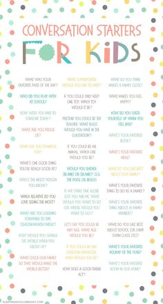 Looking for fun, thoughtful conversation starters for kids? Learn more about your family through these 31 question prompts and simple topics, perfect for mealtime dinners and practicing social skills. Kids And Parenting, Parenting Hacks, Gentle Parenting, Parenting Quotes, Conversation Starters For Kids, Conversation Starter Questions, Conversation Topics, Preschool Activities, Family Activities