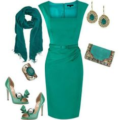 Aquamarine dress with accessories for any formal or executive occasion