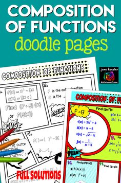 These Composition of Functions notes plus practice in a fun format will help you engage your students in this difficult topic for Algebra or PreCalculus. When done, students can use their creativity to decorate the comic book style pages. Function Composition, College Math, Doodle Pages, Precalculus, Secondary Math, Comic Book Style, Common Core Standards, Math Teacher, Math Resources