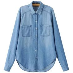 Chicnova Fashion Boyfriend Denim Blouse (76 BRL) ❤ liked on Polyvore featuring tops, blouses, blue denim blouse, boyfriend tops, boyfriend blouse, relaxed fit tops and boyfriend tank top - no sleeve blouse, short sleeve blouses for work, fitted blouse *ad