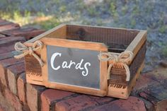 Perfect wedding card or program box for your Rustic Wedding!!! Crate is wrapped with burlap and includes 2 twine bows on each side. There is a 4x6 framed chalkboard attached to the front of the crate.                                                                                                                                                                                 More