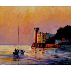 ON SALE! - Italy Trieste Gulf - $39.99 - Harbors - Hand Painted - Oil Paingings for Sale - Oil on Canvas - Cheap Canvas Art