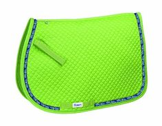 """Perri's Pony Ribbon A/P Saddle Pad, Lime Green/Circles, 18-Inch x 22-Inch by Perri's. $39.95. Ribbon Trimmed. 3/4"""" Diamond Quilted Pad. Cotton With Polyester Fill Cushioning. Velcro Billet Straps. Girth Loops. Fun Colors. Goes Great With Our #155 Halters And #156/158 Leads. Horse Saddle Pads, Horse Saddles, Horse Tack, Diamond Quilt, Equestrian, Horses, Circles, Sports, Pony"""