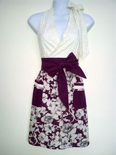 Full Apron  Plum Garden  Plum and Ivory Floral by ChicChefBoutique, $35.00