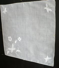 Exquisite Vintage White Batiste Handkerchief  with by esmeelynne, $25.00