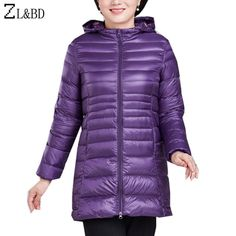 4d14992fdc ZL BD Plus Size 4XL 5XL 6XL 2018 Women Autumn Winter Ultra Light Down Jacket  100kg Women Hooded Long Slim Duck Down Coat ZA889