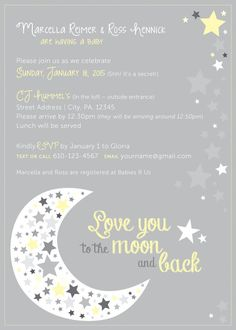 baby shower love you to the moon and back blue boy card | love you, Baby shower invitations