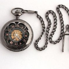 Gentlemen Black Mechanical Pocket Watch
