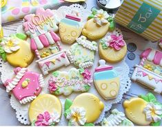 Cookie Decorating, Decorating Ideas, Baby Shower Cookies, Food Themes, Pink Lemonade, Cupcake Cakes, Cupcakes, Sugar Cookies, Baby Theme