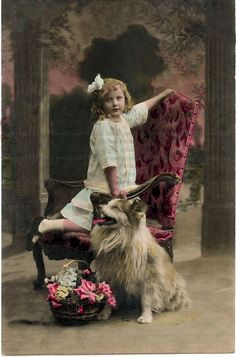 Vintage girl with dog