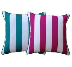 + Recycled Plastic Outdoor Mats - Colour in your outdoor living! Striped Cushions, Cushions Online, Outdoor Cushions, Outdoor Rooms, Pink Stripes, Cushion Covers, Aqua, Bright, Throw Pillows