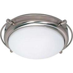Glomar Nestra 2 Light Brushed Nickel Flushmount With Satin Frosted Glass.  Flush Mount LightingHome ...
