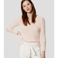LOFT Edged Cotton Sweater (830 MXN) ❤ liked on Polyvore featuring tops, sweaters, light pink cloud, cotton 3/4 sleeve tops, textured sweater, stitch sweater, 3/4 sleeve sweaters and 3/4 length sleeve tops