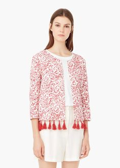 Printed cotton jacket - Jackets for Women   MANGO
