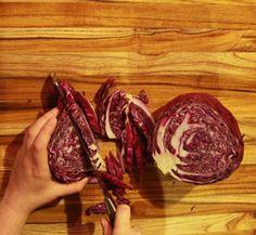 Cutting cabbage on a proteak edge grain cutting board. www.proteakstore.com