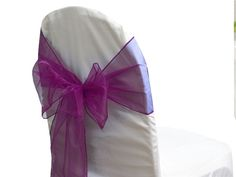 Organza Chair Sash - EGG Plant | Wedding Superstore | Based in QLD