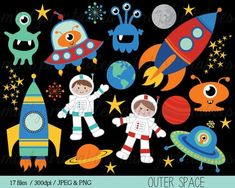 Space Clipart, Rocket Clipart, Spaceship Rocketship Astronaut Alien Outer Space Planets Boy - Commercial & Personal - BUY 2 GET 1 FREE, Tobot Space Classroom, Outer Space Party, Retro Robot, Space Planets, Space Theme, Space Space, Digital Scrapbooking Layouts, Art Lessons, Spaceship