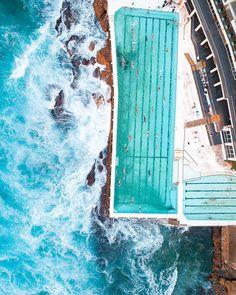 Light Pool, Bondi Icebergs, Dji Phantom 4, Bondi Beach, Water Waves, Drones, Paddle, Surfboard, Sydney